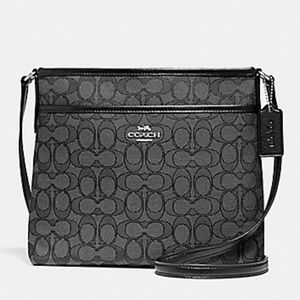 COACH Signature File Crossbody Bag Black Smoke